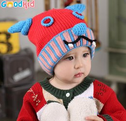 Wholesale Crochet Baby Horns Hat - Children's cartoon horns wool hat knitted hat winter hat baby warm autumn and winter JIA371