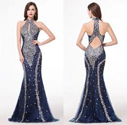 Wholesale Photos Fashion Models - Navy Blue Evening Dresses Rhinestones Crystals Sleeveless Mermaid Tulle Floor Touching Luxury Beading Shiny Sexy Real Photos Abendkleider