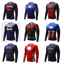 Wholesale Long Sleeves Batman - Batman Ant Super Spider Iron Man Avengers Captain America Asian Size XS-4XL Long Sleeve Women Men Unisex Hero Outdoor Sports T Shirts