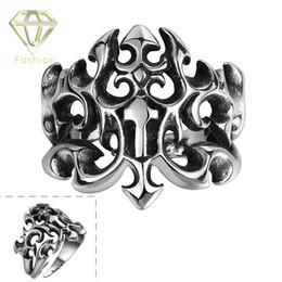 Wholesale Biker Rings Men - 2015 Top Brand 316L Stainless Steel Ring Vintage Punk Style Jewelry Fashion Crow Wind Geometric Biker Rings for Men