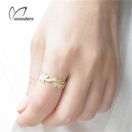 Wholesale Rose Plant Leaves - GORGEOUS TALE Wholesale Adjustable Oak Leaf Rings Rose Gold Color Copper Leaves Knuckle Ring Fairytale Wedding Jewelry