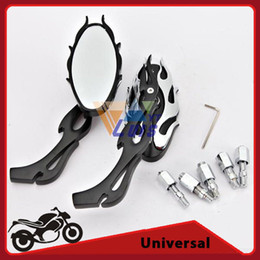 Wholesale Custom Motorcycles Mirrors - Cafe Racer Custom Black OvalChopper Motorcycle Rearview Side Mirror Universal Motorcycle Accessories order<$18no track