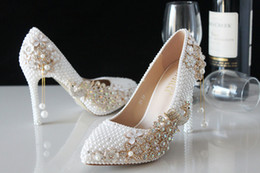 Wholesale glass dress shoes - Distinguished Luxury Pearl Sparkling Glass Slipper Bridal Shoes Wedding shoes High Heels Dress shoes Woman wedding shoes Lady's Party Proms