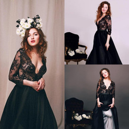 Wholesale Three Quarter Length Sleeve Plus - New Sexy Deep V Neck 3 4 Three Quarter Sleeve Black Lace Prom Dress Custom Made Special Occasion Dresses For Party