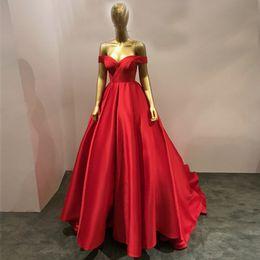 Wholesale Simple Elegant Formal Gowns - Elegant Off Shoulder Ball Gown Evening Dresses Sweetheart Pleated Satin Lace Formal Evening Dresses Simple Evening Gowns Long Prom Dress