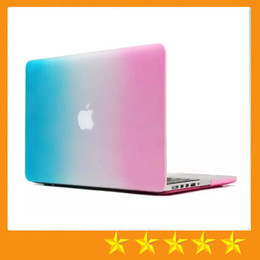 Wholesale Rubberized Protector Case - Colorful Rainbow Hard Rubberized Case Cover Protector for Apple Macbook Air Pro with Retina 11 13 15 inch Laptop Crystal Cases Free shipping