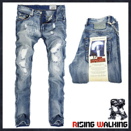 Wholesale Patterned Jeans - Wholesale Italy Fashion Designer Men's Jeans Brand Ripped Jeans For Men Casual Business Pants