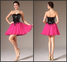 Wholesale Sequin Homecoming Dresse - Fuchsia Short Cocktail Dresse 2016 Sequins Strapless Backless Vestido Party Gowns Sleevless Chiffon Ball Homecoming Dress Prom Gown shj