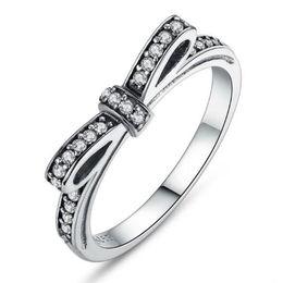 anéis de mulheres espumantes Desconto Hot 925 Sterling Silver Espumante Arco Nó Empilhável Anel Micro Pavimentar CZ para As Mulheres Da Jóia Do Casamento