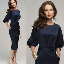 Wholesale Office Gowns - 2016 HOT New Women Summer Casual Office Lady Formal Party Evening Cocktail Midi Dress7 minutes of lantern sleeve