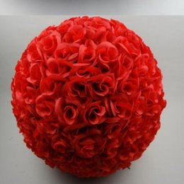 """Wholesale Silver Kissing Balls - 60 CM 23"""" Artificial Encryption Rose Silk Flower Kissing Balls Large Size For Christmas Ornaments Wedding Party Decorations 10 Color"""