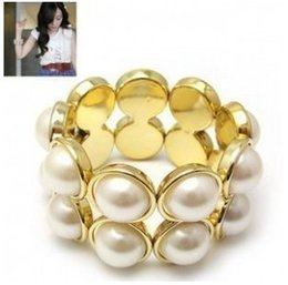Wholesale Double Pearl Bracelets - Min order is $6 ( mix order )South Korea Elegant double row full big pearl stretch elastic bracelets