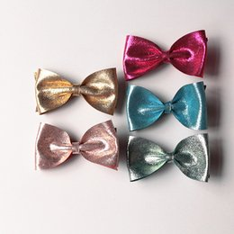 Wholesale Cheap Cat Ears - 20pcs  Lot Shinning Glitter Felt Girls Hair Clips Cat Ears Hair Bows Kids Hair Grips Cheap Rose Accessory Toddlers Bows