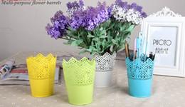 Wholesale Metal Garden Accessories - Iron Crown Lace Flower Pot Planter Hollow Out Flower Pots Outdoor Indoor Garden Accessories Metal Lace Plant Pot Flowerpot E499L