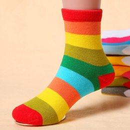 Wholesale Combed Cotton Child Sock - New Autumn Winter Rainbow Warm Children Baby Stripes Fashion Cotton Combing Socks Kids Socks for Girls Boys XWZ01