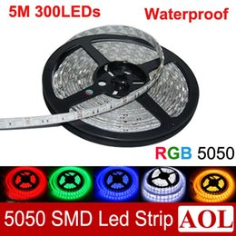 Wholesale Led Housing Strip - Outlet!!! 5050 SMD RGB Flexible LED Strip Light 300leds 5m LED String Waterproof 12v Led house lighting for decoration DHL free