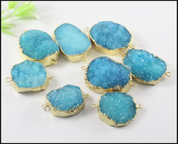 Wholesale Gemstone Connector Beads - 5pcs Gold plated Nature Druzy Crystal stone Connector in Sky Blue color,Quartz Drusy gemstone Connector Pendant Beads Jewelry Findings
