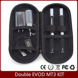 Wholesale Kanger Mt3 Kit - Double EVOD MT3 kit Two Evod battery and MT3 vaporizer replaceable coils starter kit 650mah 900mah 1100mah battery for choosing FAST SHIPPIN
