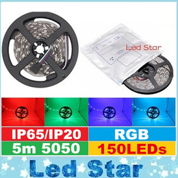 Wholesale Waterproof Led Rope Lights - Brand New 5M 150LEDs 5050 RGB Led Strips Lights 12V 30LEDs m Waterproof Led Rope Flexible Strips Lights For Christmas Bar Lighting