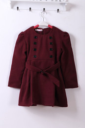 Wholesale 5t Warm Winter Dresses - Wholesale-2015 Girls big virgin plus velvet warm woolen winter dress coat woolen shawl skirt piece girls