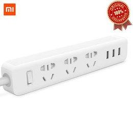 Wholesale Strip Poles - Original Xiaomi Power Strip Outlet Socket 3 USB Extension Socket Plug 3 ports USB hub fast charger flame retardant materials