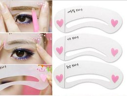 Wholesale Making Stencils - Eyebrow stencils 3 styles reusable eyebrow drawing guide card 3pcs setbrow template DIY make up tools free shipping DHL 60095