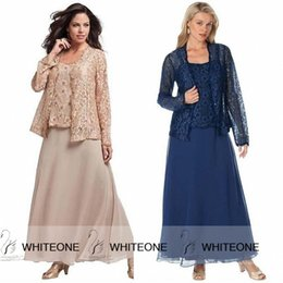 Wholesale Tea Length Green Suits - 3 Pieces Chiffon Lace Mother of The Bride Groom Dress With Pants Suit Plus Size Custom Made Tea Length Crew Neck Wedding Guest Mother's Gown