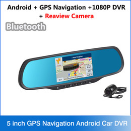 Wholesale Rearview Mirror Gps Android - New 5 inch GPS Navigation Android Car DVR FHD 1080P Camera Bluetooth WiFi FM G-Sensor parking car dvrs Rearview mirror dash cam