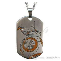 Wholesale Wholesale Laser Dog Tags - 30pc Star Wars Episode VII The Force Awakens BB-8 Droid Laser Dog Tag Pendant Necklace Wholesale 50cm free shipping 1312