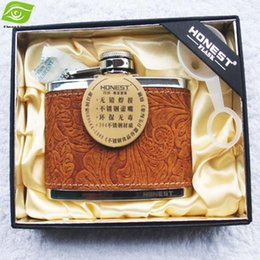 Wholesale Stainless Steel Hip Flask Engraved - Luxury Hip Flask Engraved Leather 6OZ Stainless Steel Hip Flask Gift Box Pocket Flagon Perfect Gift For Men, dandys
