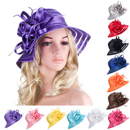 Wholesale Womens Hats Wide Brim - Womens Tea Party Polyester Satin Feather Church Dress Wedding Kentucky Derby Sun Protection Beach Hat A214