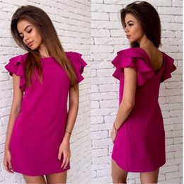 Wholesale Fitting Dresses For Women - wholesale Women Fashion Petal sleeves Dresses for womens plus size clothing loose fit bodycon casual dresses ladies club dresses GZQZ4 F