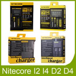 Wholesale new e cig batteries - Original New Nitecore I2 I4 I8 D2 D4 Universal Intellicharger Display E Cig Charger for genuine 18650 18350 18500 14500 Battery