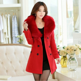 Wholesale Womens Yellow Winter Coat - Wholesale-womens fur collar Double Breasted Wool Coat long Winter Jackets parka coats Outerwear for lady M,L,XL,XXL,XXXL 35