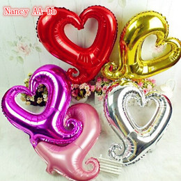 "Wholesale Heart Shaped Hook - Wholesale-1Pcs 18"" Beauty Cute Hook Heart Shape Aluminium Ballons Wedding Christmas Birthday Party Helium Foil Balloons 6 Colors Choose"