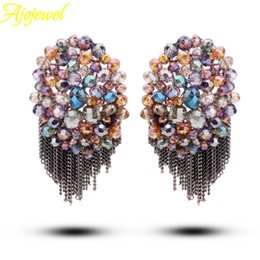 Wholesale Bohemian Studs - FG 2014 unique vintage bohemian style colorful austrian crystal beads luxury women wedding stud earrings