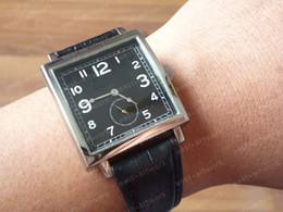 Wholesale Vintage Square Mens Watches - Vintage Square Ref. 1876 Black Dial 36mm Mens Quartz Watch Leather Strap