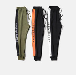 Wholesale Army Sweatpants - new fashion mens blackletter track pants 3 colors side stripe tapered retro gothic old English sport sweatpants skinny joggers