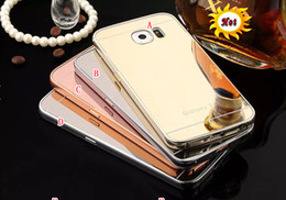 Wholesale Iphone 4s Gold Mirror - Gold Plating Aluminum Mirror Case Frame Cover For Iphone 5 SE 5S 5C 4 4S 6 6S Plus 4.7 Samsung Galaxy J5 J7 S6 Edge Plus Note5 skin Luxury