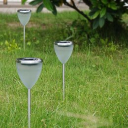 Wholesale Goblet Lamp - Wholesale-Goblet Design Solar Power Panel Led Path Spot Light Lamp Outdoor Lighting Stainless Steel Garden Solar Lawn Decoration Wholesale