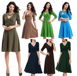 multi abito colorato Sconti 2016 nuovi vestiti da usura delle donne dell'ufficio veste il vestito casuale dall'abito di sfera del manicotto 1/2 del vestito dal V-collo dell'ufficio 15 colori all'ingrosso