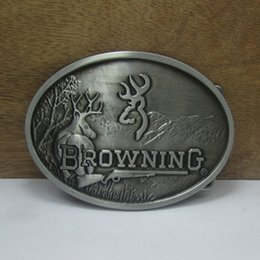 Wholesale Antique Pewter Finish - BuckleHome browning belt buckle 2 colors available FP-03557 with pewter and antique brass finish with continous stock free shipping