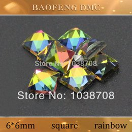 Wholesale Rhinestone Iron Rainbow - Wholesale-2015 New Square Hot-fix Shaped 6*6mm 130pcs lot Rainbow Rhinestones Hot Fix Dmc Rhinestone On Iron for Garment free Shipping