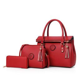 Wholesale Rivet Sets - Hot New Luxury PU Leather Tassel Handbag 3 Pcs Composite Bags Set Lady Shoulder Crossbody Women Bag Female Wallet Clutch