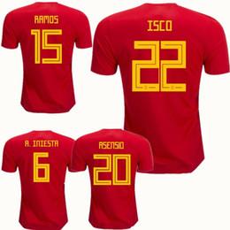 6ad5f417301 2018 World Cup Spain Soccer Jerseys Pique Romas A.iniesta Ramos Pedro Silva  Fabregas Isco Home Red Espana camisas de futbol Soccer Kit