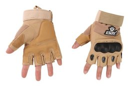 Wholesale Tan Fingerless Gloves - Wholesale-1 Pair Tan Color ESDY Fingerless Tactical Shooting Protective Gloves, suit for all kinds of games