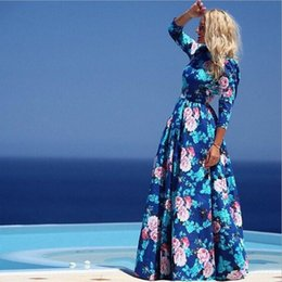 Wholesale Womens Floral Chiffon Dresses - 2015 Fashion New Chiffon Maxi Dresses for Womens Summer Clothes Fall Round Neck Blue Floral Printed Dresses Women bohemian Casual dresses xl