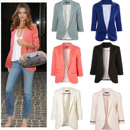 Wholesale Womens Long Jacket Suits - Womens Winter Jackets and Coats Candy Color Solid Slim Suit Blazer Coat Jacket Long Sleeve Slim Jacket winter coat women
