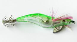 Wholesale Led Lighting Lures - HENGJIA 300pcs Spinner Fishing Lures Squid Light Jigs Lures LED Light Squid Jig Night Fishing Wood Shrimp Lure Squid Light Jigs Lures
