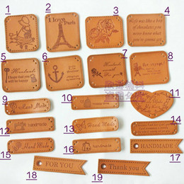 Wholesale Handmade Labels - Wholesale-38PCS Assorted 19design Zakka DIY Embossed Handmade PU leather labels patches, for for Tailor Craft Bag purse